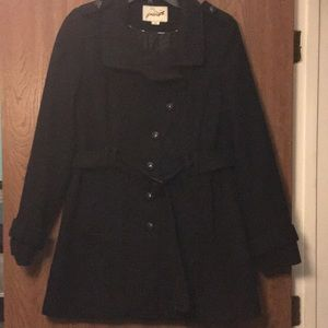 Grane Black Trench Coat with Buttons and Belt